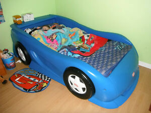 Blue Race Car Twin Bed