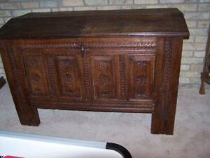 Solid Oak AntiQue Hand Carved Blanket Hutch 1865