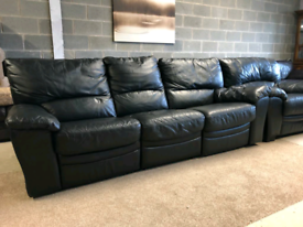 Black Leather Recliner 3 Seater Sofa and Regular Chair