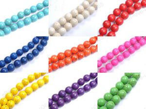 Wholesale-Howlite-TURQUOISE-Gemstone-Round-Loose-BEADS-6MM-8MM-10MM-12MM-14MM