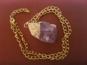 $25 Raw Amethyst Pendant Gold Plated Chain Necklace