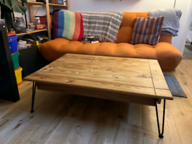 Reclaimed Oak Wood Large Coffee Table with Hairpin Legs