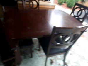 Dark, solid wood dining, not mdf, table and chair set