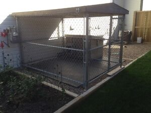 Dog Run with dog house, roof, and mats.