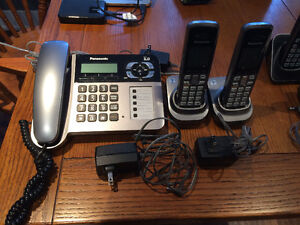 Cordless Phone System with corded base and 2 cordless handsets