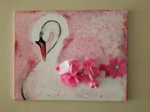 Pink Swan painting