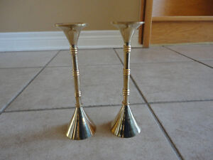 Set of 2 solid brass candlestick holders Brand new