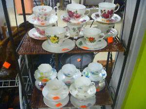 18 Assorted Cups And Saucers $2 Each Or All 18 For $30.