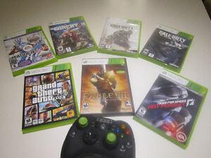 Ensemble jeux vidéos et manette X-BOX 360 négociable