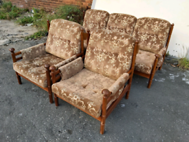 Sofa - Guy Rogers Quality Retro Vintage Wooden Frame & Fabric Sofa Set