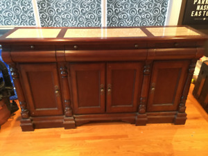 Sideboard buffet cherry colour wood with marble top inserts