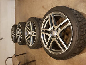 "18""  5x112 Mercedes split 5 spoke rims and tires"