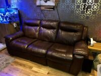 DFS 3 Leather Seater Recliner Sofa