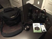 Canon t3i with 3x Lens + Bag  like new
