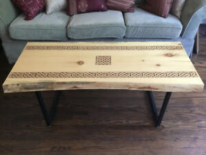 Live Edge Table with Celtic Knotwork Pyrography