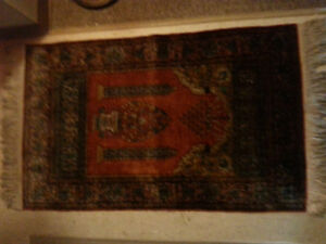 100 year old Pure Silk, Hand Woven, Persian Sheikh Prayer Rug.