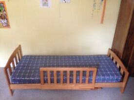Childs pine bed including mattress