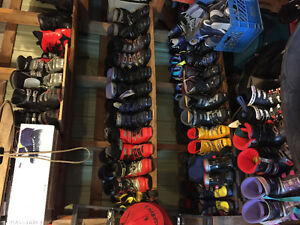 Downhill ski boots and some skis - many sizes!