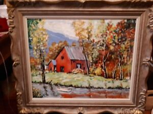 A.R.Salt  Stunning Painting of red barn in the fall
