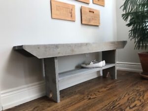 Rustic wooden bench great for entryway or mud room!