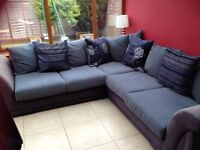 Charcoal black and grey corner group sofa