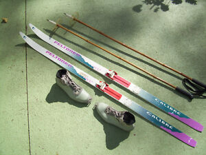 Two Complete Sets of Ladies/Youths Cross Country Skis/Poles/Boot