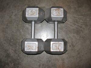 65 Pound Steel Hex Dumbbells