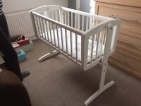 Mothercare swinging baby crib with mattress and 2 x new covers