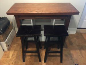 Handmade wood island or bench or table with stools