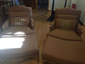 Set of chairs with ottomans - 2 chaises