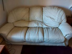 Cream Leather three seater Sofa from Harveys