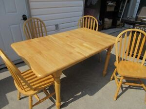 Solid Pine Kitchen Table with attached leaf and 4 chairs
