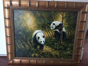 Oil Painting Panda picture, bamboo frame