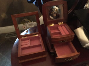 Set of Two Jewlery Boxes with Painted Glass Inlay