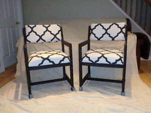 Chalk Painted reupholstered Chairs