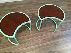 Shabby chic steel and wood top side tables