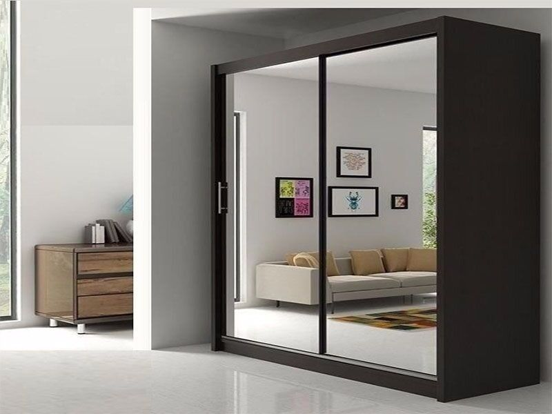 BEST SELLING BRAND- WOW Brand New Berlin Full Mirror 2 Door Sliding Wardrobe in Black Walnut White