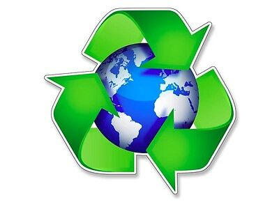 4x4 inch Recycle Around the Earth Logo Sticker - decal recycling fun green clean