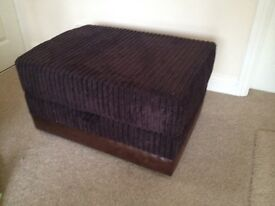Brown cord & brown faux leather footstool NEW ex display