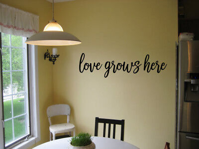 - LOVE GROWS HERE VINYL WALL DECAL ART QUOTE WORDS HOME LETTERING STICKER