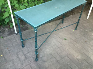 "Metal green lounge/sofa table with glass top 50"" x17 x 27.75high Oakville / Halton Region Toronto (GTA) image 2"