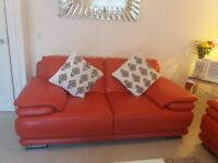 Quality Chateau d'Ax Red Leather Sofas (3+2)