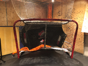 Hockey Net, Pucks, Accessories, and Wood to stop the dents.