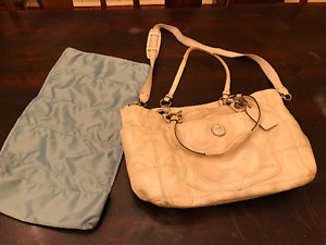 Coach genuine white leather baby diaper bag