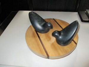 Soapstone carvings pair of Doves signed Lundy's