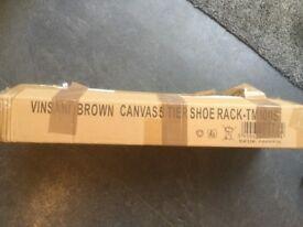 Brown canvas 5 tier shoe rack