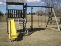 All Cedar play structure and swings