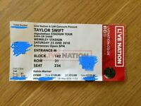 Taylor Swift Reputation Tour ticket Wembley 23rd June 2018