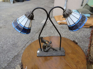 antique stained glass shade table lamps.