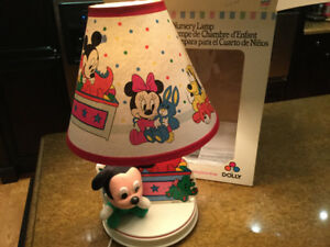 Vintage Baby Mickey Mouse Disney Nursery Light Lamp